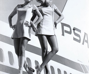 vintage, airplane, and flight attendant image