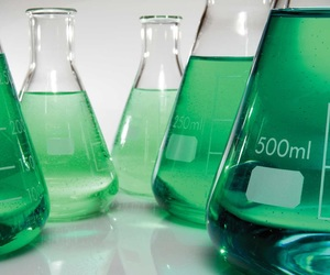 green, science, and beakers image
