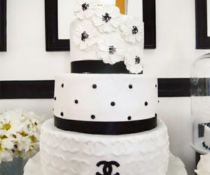 black &white, cake, and chanel image