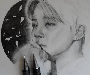 black and white, moon, and jimin bts image