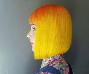hair, yellow, and dye image