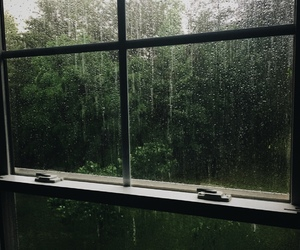 green, rain, and window image