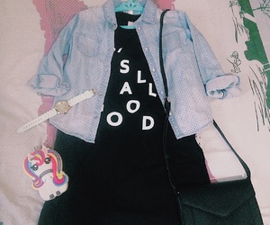 denim jacket, outfit, and watch image