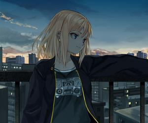 blonde, blonde hair, and blue eyes image