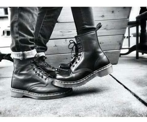 black, black and white, and boots image