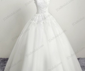 princess wedding dress, cap sleeves, and tulle bridal dresses image
