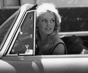 brigitte bardot, car, and black and white image
