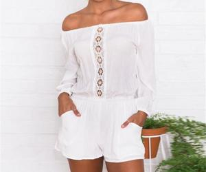 boho, summer style, and white romper image