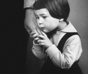 black and white, hand, and child image