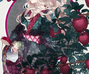 anime girl, kimono, and leaves image