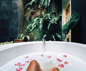 bath, summer, and flowers image