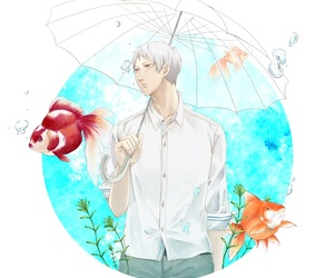 bubbles, umbrella, and anime guy image