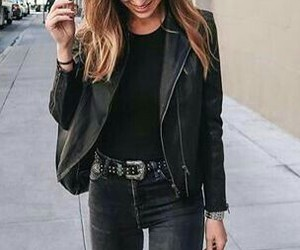 black, leather jacket, and ripped jeans image