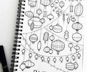 doodle, lantern, and art image