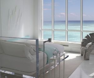 bedroom, white, and sea image