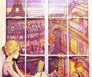 paris, cat, and book image