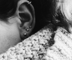 black and white, ears, and piercing image
