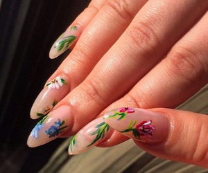 nails, flowers, and aesthetic image