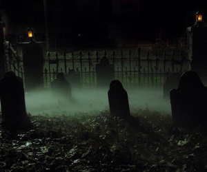 dark, cemetery, and coffins image