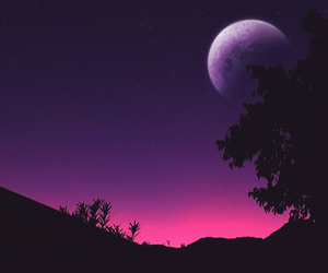 moon, beautiful, and purple image
