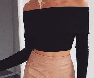 black, skirt, and crop top image