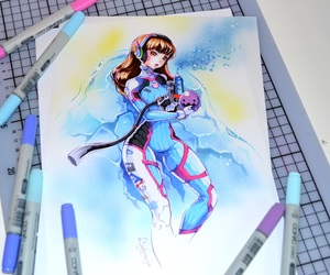 art, copic markers, and video games image