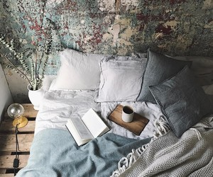 book, coffee, and decor image