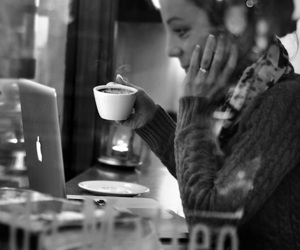 black and white, happy, and coffee image