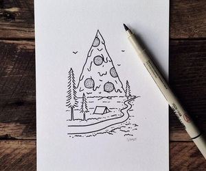 pizza, drawing, and art image