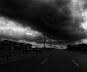 b&w, cloud, and road image
