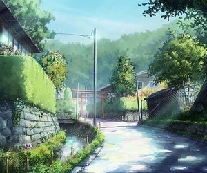 anime, road, and green image