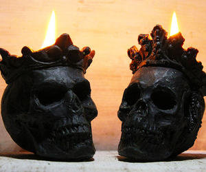 gothic decor, king queen, and black skull image