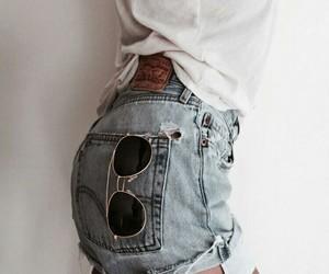 denim shorts, girl, and white image