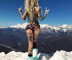 blonde, fashion, and tattooed girl image