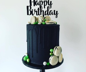 birthday, macaron, and cake image