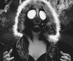 girl, smoke, and mask image
