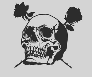 black, roses, and skull image