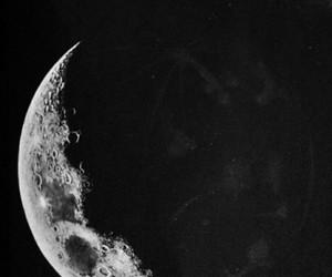 b&w, dark, and moon image
