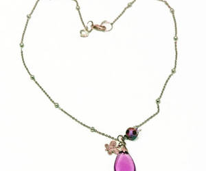 beaded necklace, amethyst pendant, and purple pendant image