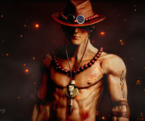 anime, hat, and portgas d ace image