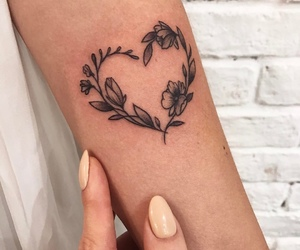 tattoo, heart, and flowers image