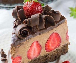 cake, strawberries, and chocolate image