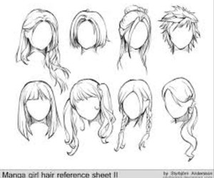 hair, drawing, and anime image