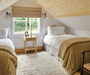 home decor, twin beds, and yellow wallpaper image
