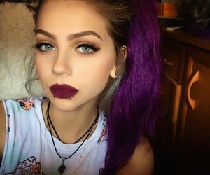 blue eyes, hairstyle, and purple hair image