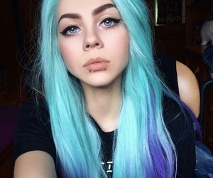 blue eyes, blue hair, and purple hair image