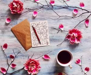 coffee, flowers, and photo image