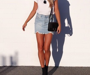 fashion, denim skirt, and outfit image