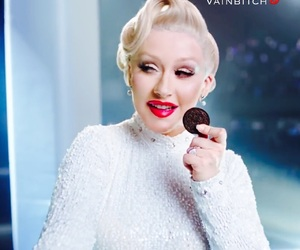 christina aguilera, commercial, and red lips image
