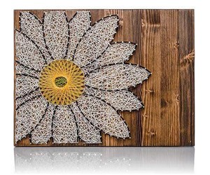daisy, string art, and wood sign image
